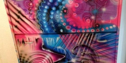 Freie Graffiti / Airbrush Gestaltung eines Schuhschrankes