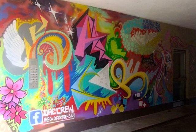 Freie Graffiti Gestaltung einer Einfahrt in Muenchen